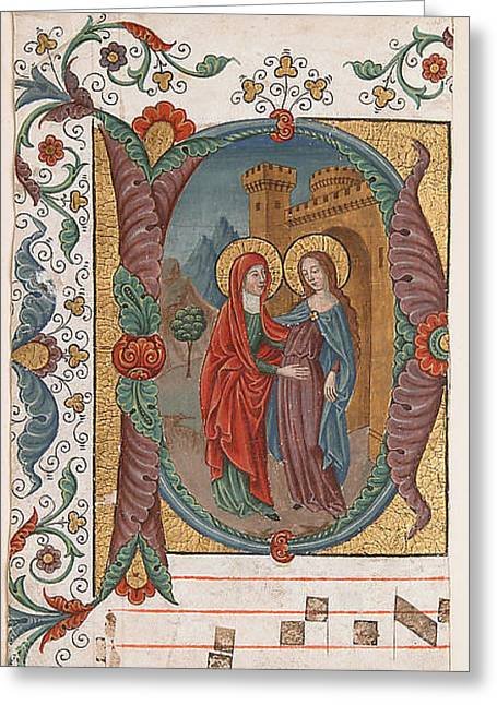 Jesus With A Child Greeting Cards - Visitation  Greeting Card by Spanish Forger