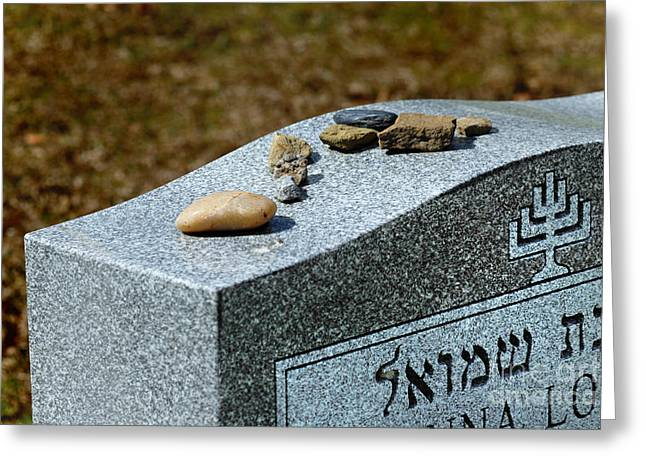 Stones Greeting Cards - Visitation Stones on Jewish Grave Greeting Card by Amy Cicconi
