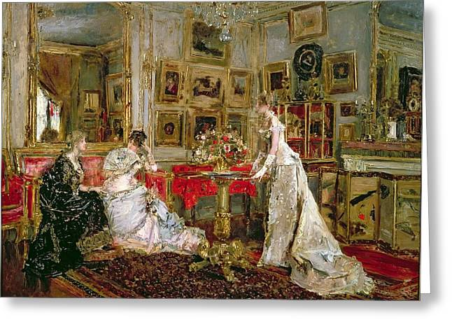 Catching Up Greeting Cards - Visiting Greeting Card by Alfred Emile Stevens
