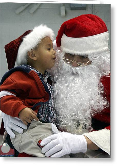 Little Boy Greeting Cards - Visiting Santa Clause Greeting Card by Unknown
