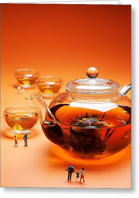Surreal Landscape Glass Art Greeting Cards - Visiting teapot aquarium Little people on food Greeting Card by Paul Ge