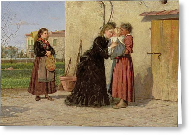 Rural Greeting Cards - Visiting the Wet Nurse Greeting Card by Silvestro Lega