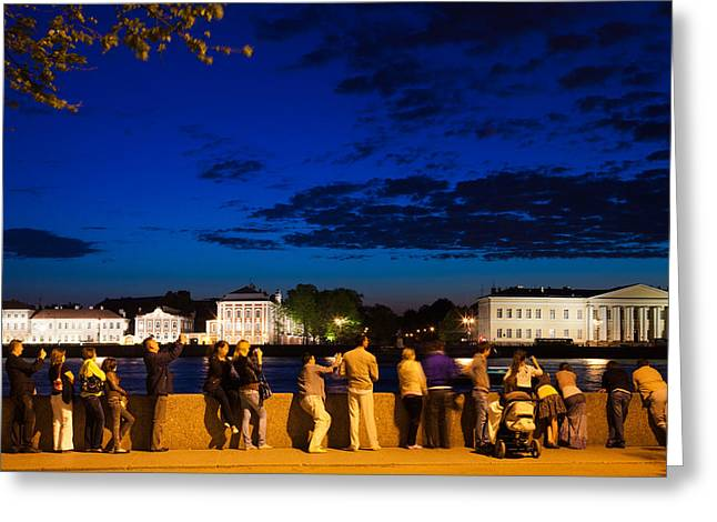 Looking At View Greeting Cards - Visitors Along The Neva River Greeting Card by Panoramic Images