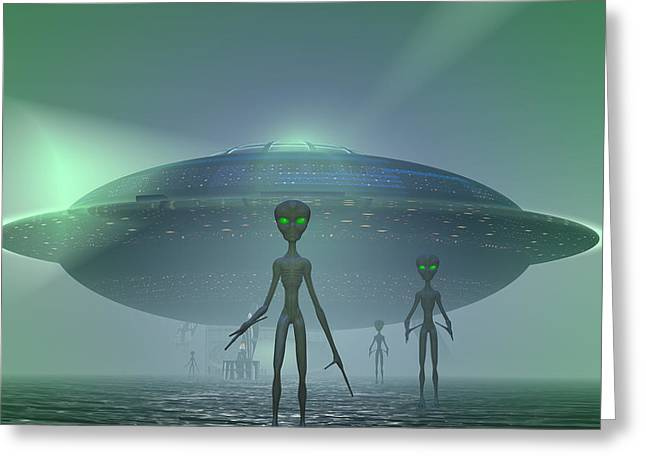 Intergalactic Greeting Cards - Visitors Greeting Card by Carol and Mike Werner