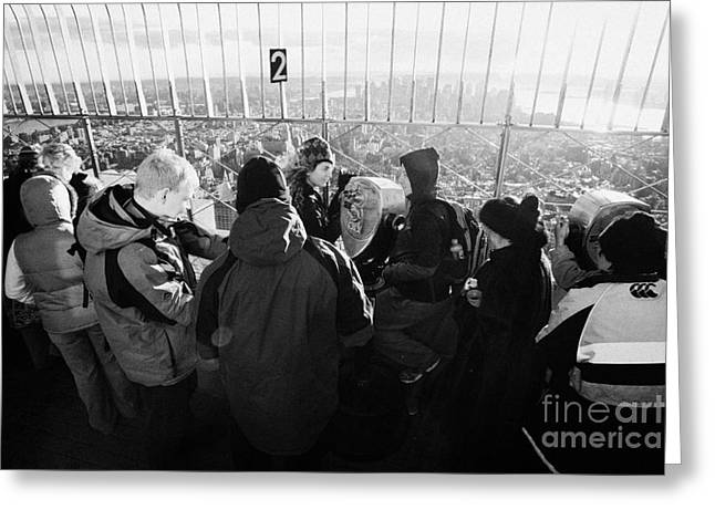 Visitors On Observation Deck Of The Empire State Building New York City Usa Greeting Card by Joe Fox