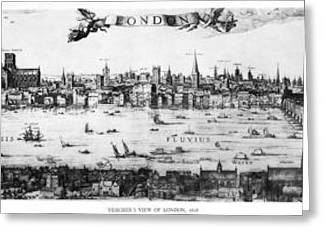 Work On Paper Drawings Greeting Cards - Visschers View of London Greeting Card by Visscher