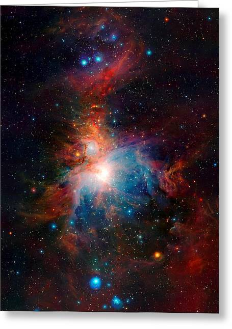 Vista Telescope Infrared View Orion Nebula Enhanced Greeting Card by L Brown