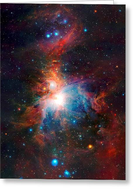 Observer Greeting Cards - Vista Telescopes Infrared View Orion Nebula Enhanced 3 Greeting Card by L Brown