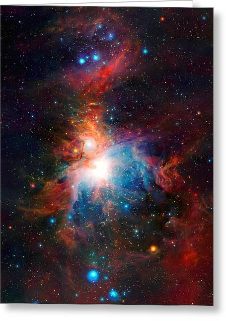 Vista Telescope's Infrared View Orion Nebula Enhanced II Greeting Card by L Brown