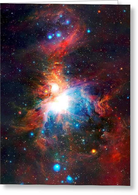 Observer Mixed Media Greeting Cards - VISTA Telescopes Infrared View Orion Nebula Enhanced IV Greeting Card by L Brown