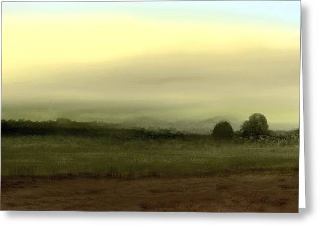 Subtle Colors Greeting Cards - Vista with Trees Greeting Card by John Townes