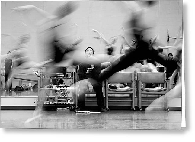 Dancer Rehearsing Greeting Cards - Visualizing Greeting Card by Lawrence Boothby
