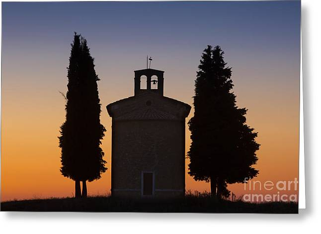 Tuscan Sunset Photographs Greeting Cards - Vitaleta Silhouette Greeting Card by Brian Jannsen