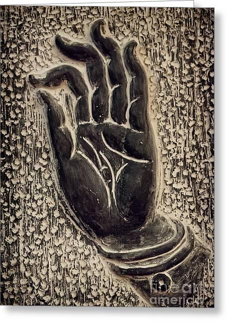 Symbolic Gesture Greeting Cards - Vitarka Mudra Buddhist hand gesture Greeting Card by Oleksiy Maksymenko