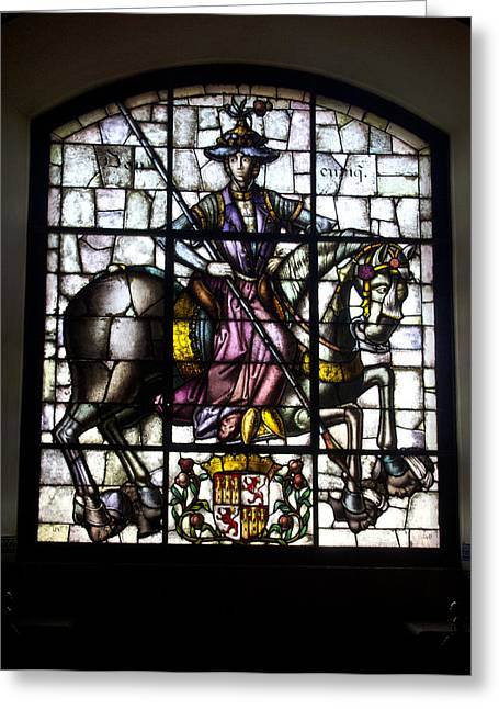 Stainglass Greeting Cards - Vitral de Enrique IV a caballo Greeting Card by Rolando Jose Rodriguez De Leon