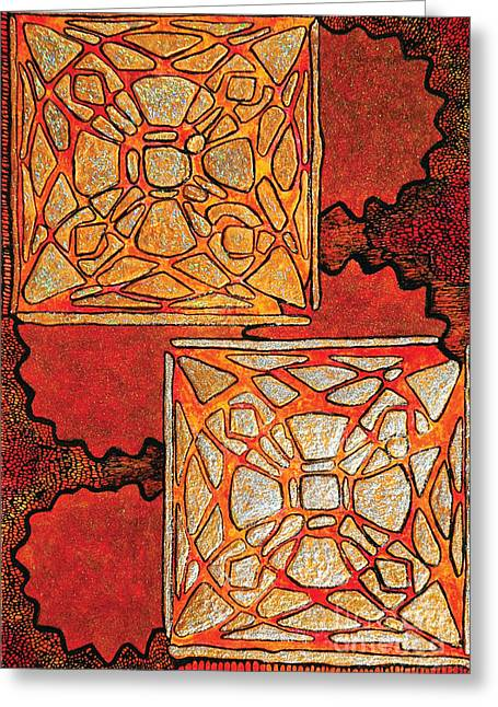 Vitrales II From The Frank Lloyd Wright A Mano Series Greeting Card by Chary Castro-Marin