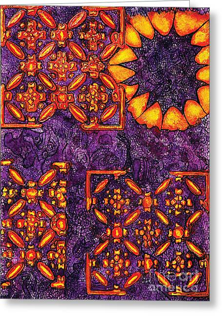 Indian Ink Mixed Media Greeting Cards - Vitrales III from the Frank Lloyd Wright A Mano Series Greeting Card by Chary Castro-Marin
