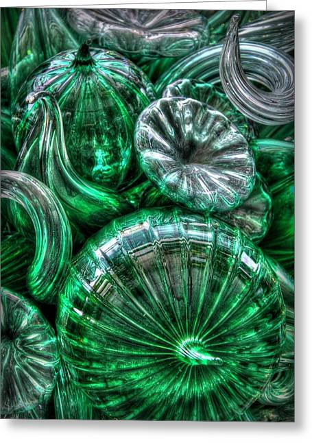 Chihuly Glass Greeting Cards - Vitreous Verdant Abstract Greeting Card by Jeff Cook