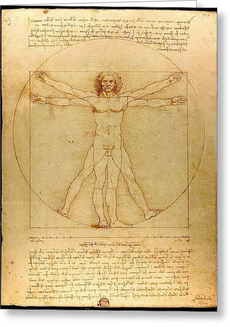 Vitruvian Man Greeting Cards - Vitruve Luc Viatour - Vitruvian Man Greeting Card by Celestial Images
