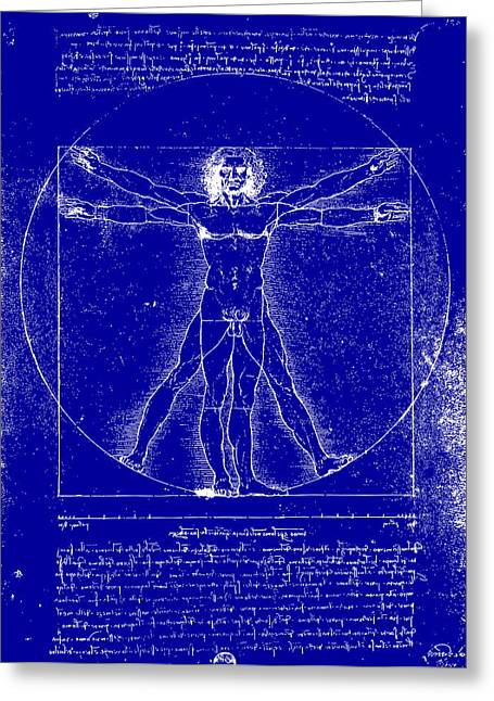 Middle Ages Greeting Cards - Vitruvian Blueprint Greeting Card by