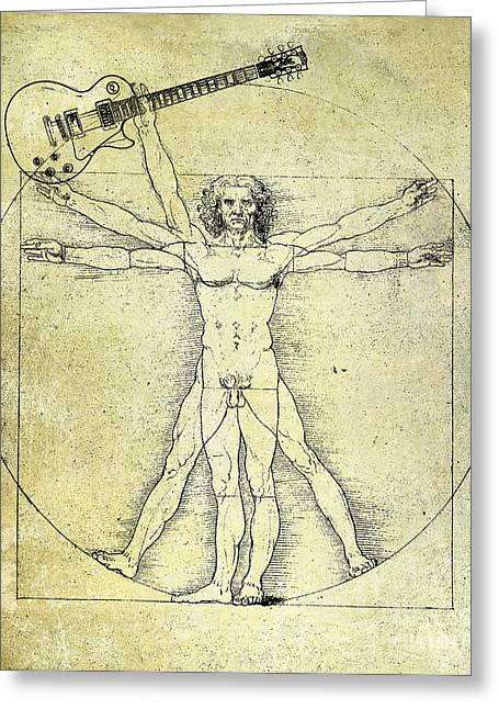 Mandolin Greeting Cards - Vitruvian Guitar Man Greeting Card by Jon Neidert