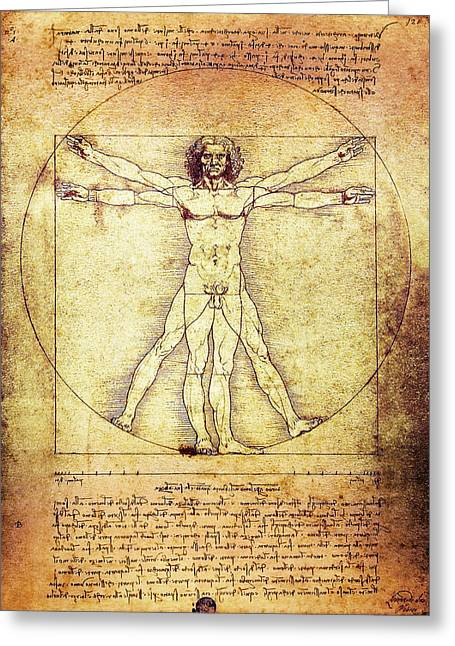Figure Drawing Greeting Cards - Vitruvian Man  1490 Greeting Card by Daniel Hagerman