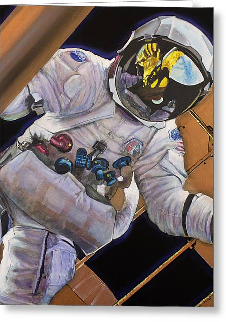 Space Art Greeting Cards - Vitruvian Man- Alan Bean.  Greeting Card by Simon Kregar