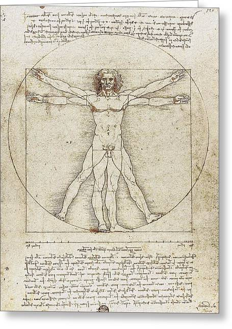 Canon Of Proportions Greeting Cards - Vitruvian Man by Leonardo da Vinci Greeting Card by Serge Averbukh