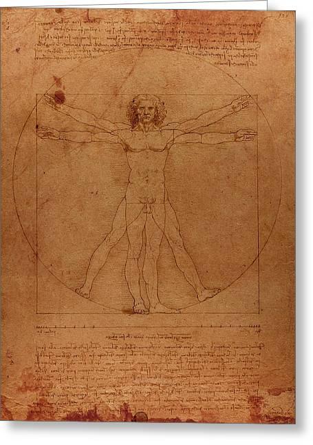 Vitruvian Man Greeting Cards - Vitruvian Man by Leonardo Da Vinci Sketch on Worn Parchment Greeting Card by Design Turnpike