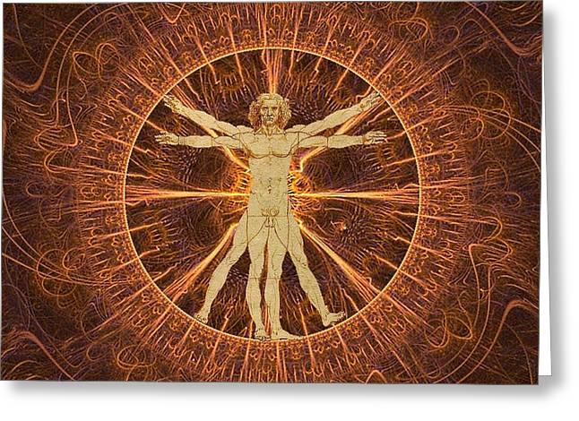Gaia Mixed Media Greeting Cards - Vitruvian man copper Greeting Card by Gaia Ragu