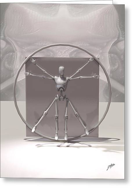 Realistic Digital Art Greeting Cards - The Vitruvian Man by Quim Abella Greeting Card by Joaquin Abella