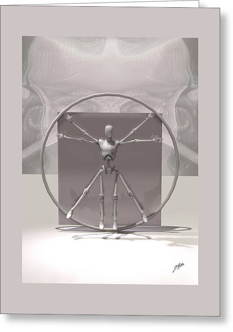 Vitruvian Man Greeting Cards - The Vitruvian Android Greeting Card by Joaquin Abella