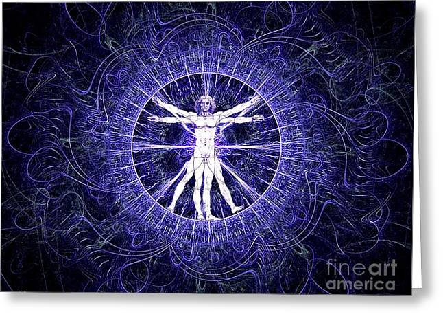 Proportions Mixed Media Greeting Cards - Vitruvian man violet Greeting Card by Gaia Ragu