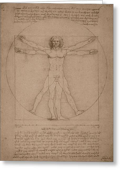 Canon Of Proportions Greeting Cards - Vitruvian Man  Greeting Card by War Is Hell Store