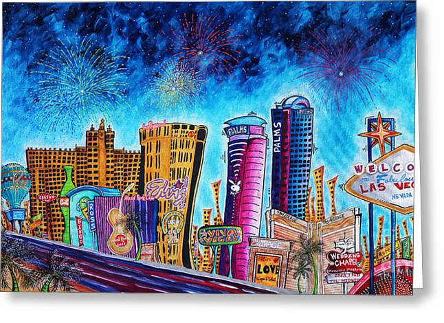 Hard Rock Cafe Greeting Cards - Viva Las Vegas a Fun and Funky PoP Art Painting of the Vegas Skyline and Sign by Megan Duncanson Greeting Card by Megan Duncanson