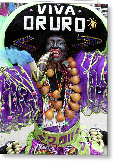 Negro Greeting Cards - Viva Oruro Bolivia Greeting Card by James Brunker