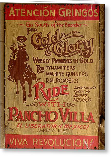 Viva Revolucion - Pancho Villa Greeting Card by Richard Reeve