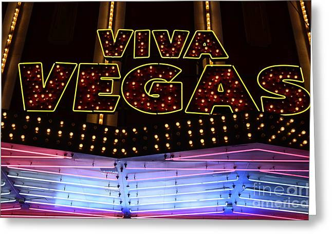 Viva Vegas Neon Greeting Card by Bob Christopher