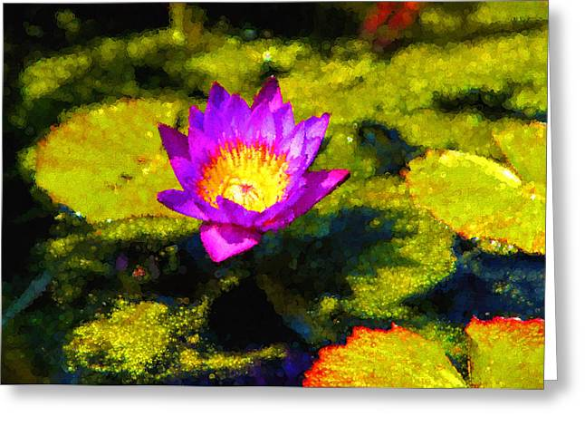 Lilly Pads Greeting Cards - Vivacious Waterlily Impression Greeting Card by Georgia Mizuleva