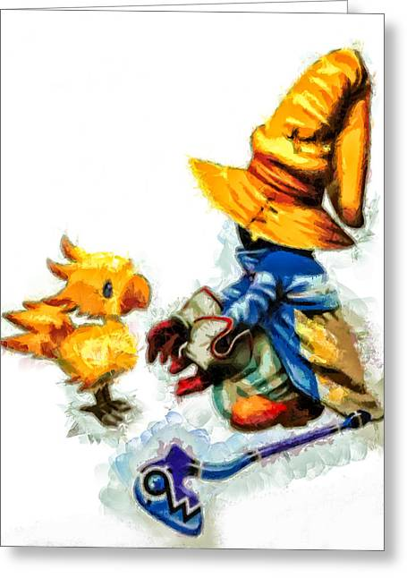 Final Fantasy Greeting Cards - Vivi and the Chocobo Greeting Card by Joe Misrasi
