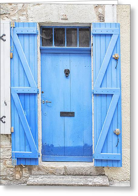 French Door Greeting Cards - Vivid Blue Door Greeting Card by Nomad Art And  Design