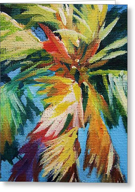 Breezy Greeting Cards - Vivid Palm Greeting Card by John Clark