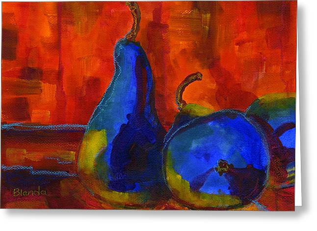 Vivid Pears Art Painting Greeting Card by Blenda Studio