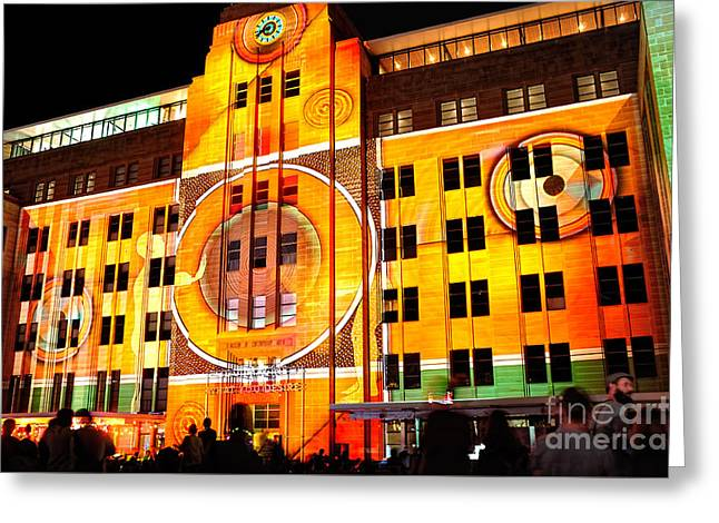 Fluorescent Yellow Greeting Cards - Vivid Sydney 2014 - Museum of Contemporary Arts 2 by Kaye Menner Greeting Card by Kaye Menner