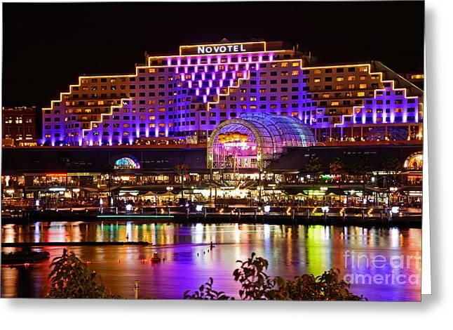 Fluorescent Yellow Greeting Cards - Vivid Sydney 2014 - Novotel by Kaye Menner Greeting Card by Kaye Menner