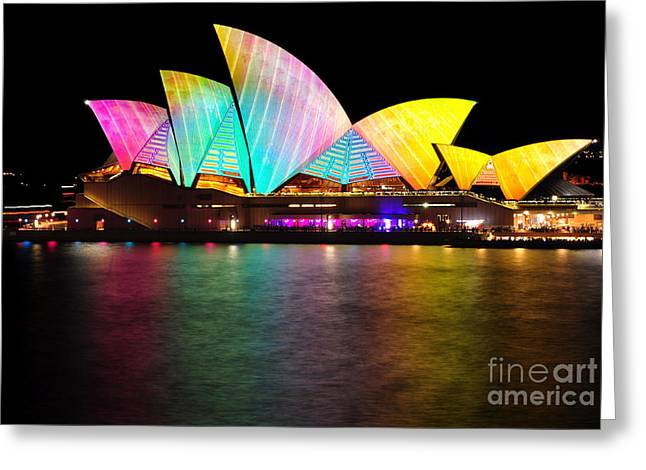 Light Show Greeting Cards - Vivid Sydney 2014 - Opera House 1 by Kaye Menner Greeting Card by Kaye Menner