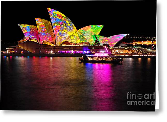 Exposure Greeting Cards - Vivid Sydney 2014 - Opera House 4 by Kaye Menner Greeting Card by Kaye Menner