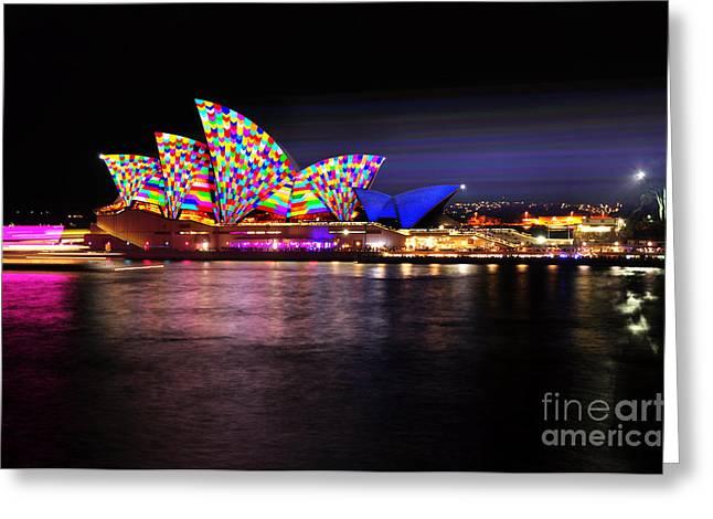 Vivid Sydney 2014 - Opera House 5 By Kaye Menner Greeting Card by Kaye Menner