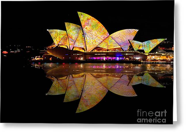 Light Show Greeting Cards - Vivid Sydney 2014 - Opera House 6 by Kaye Menner Greeting Card by Kaye Menner