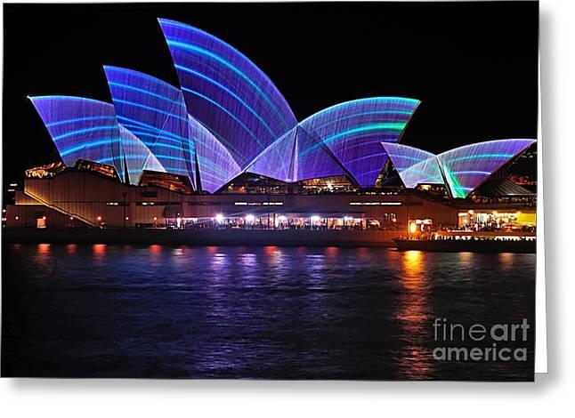 Vivid Sydney By Kaye Menner - Opera House ... Blue Lines Greeting Card by Kaye Menner